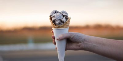 icecream cone in someones hand